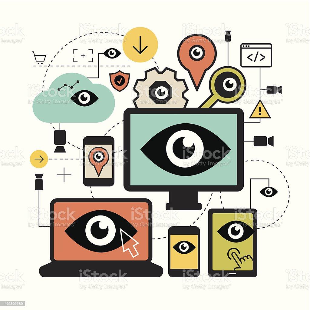 Surveillance concept vector art illustration