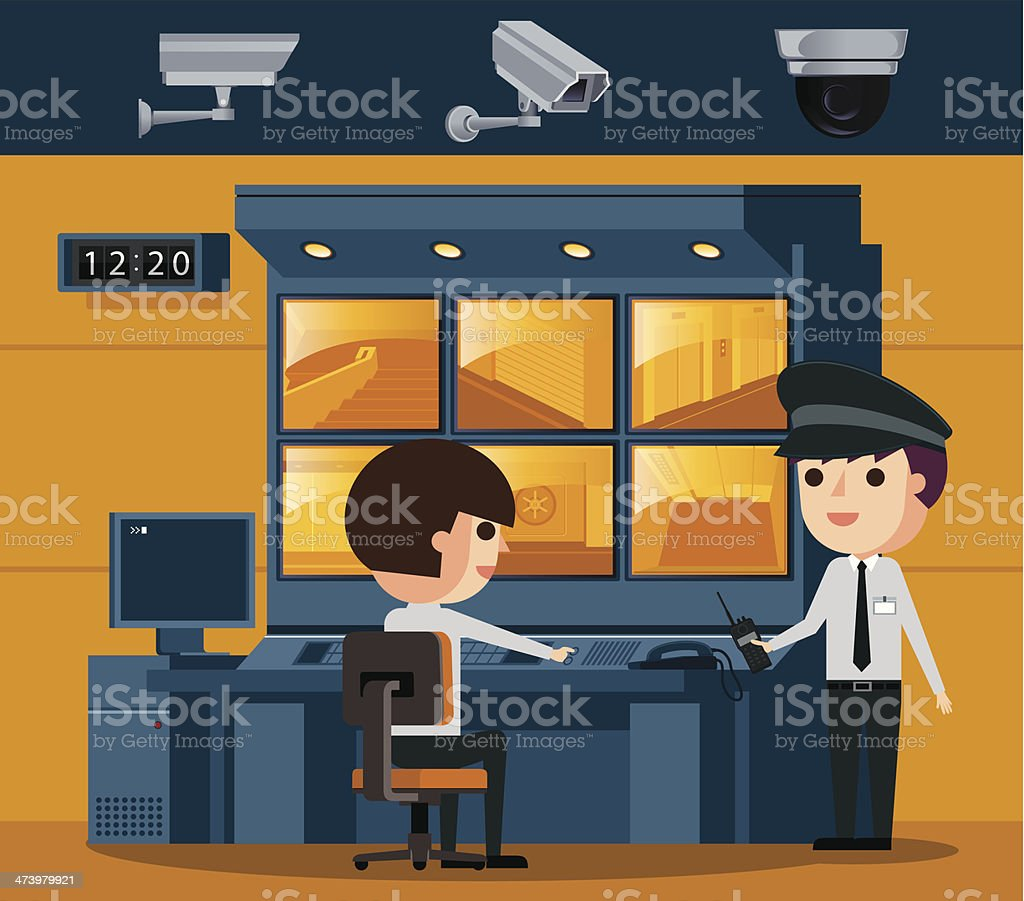 Surveillance Control Room vector art illustration