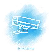 Vector surveillance cam doodle sketch over watercolor background.