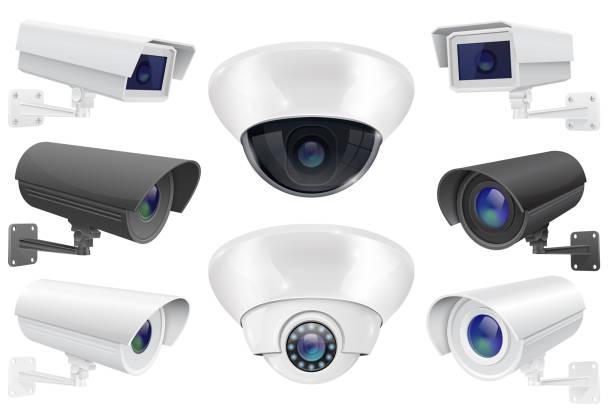 閉路電視監控系統。安全攝像頭的收集向量藝術插圖