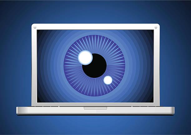 stockillustraties, clipart, cartoons en iconen met surveillance through computer screen. - paranoïde