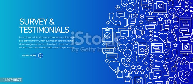 Survey and Testimonials Banner Template with Line Icons. Modern vector illustration for Advertisement, Header, Website.