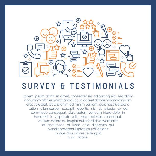 illustrations, cliparts, dessins animés et icônes de concept de sondage et de témoignages-icônes de ligne colorées, disposées en cercle - relation client