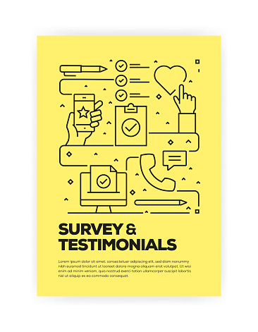 Survey and Testimonials Concept Line Style Cover Design for Annual Report, Flyer, Brochure.