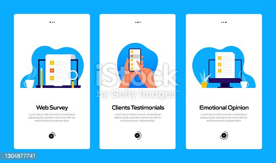 istock Survey and Testimonials Concept Onboarding Mobile App Page Screen with Flat Icons. UX, UI Design Template Vector Illustration 1304877741