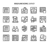 Survey, bold line icons.