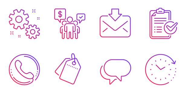 illustrazioni stock, clip art, cartoni animati e icone di tendenza di survey checklist, work and talk bubble icons set. teamwork, sale tags and incoming mail signs. vector - shifts call centre