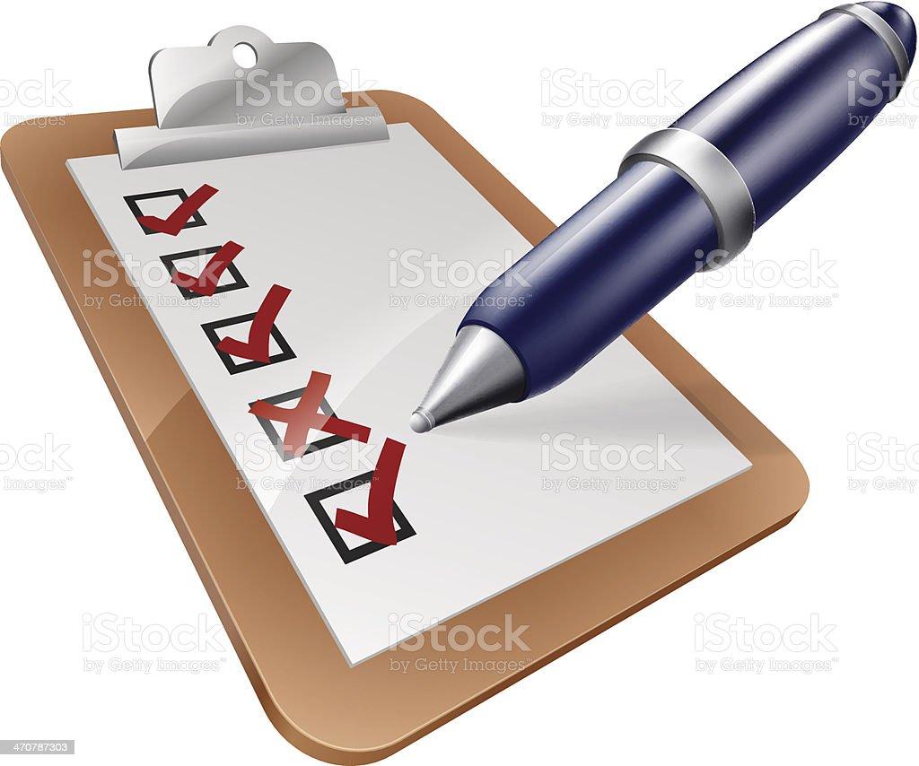 Survey clipboard and pen vector art illustration