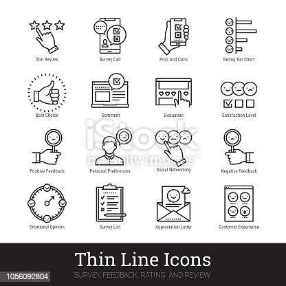 Survey, feedback, rating and review thin line icons. Modern linear illustration concept for social networks, web and mobile application. Checklist, quiz, emotional opinion, personal preferences, satisfaction level, star review pictogram. Outline vector icons collection.