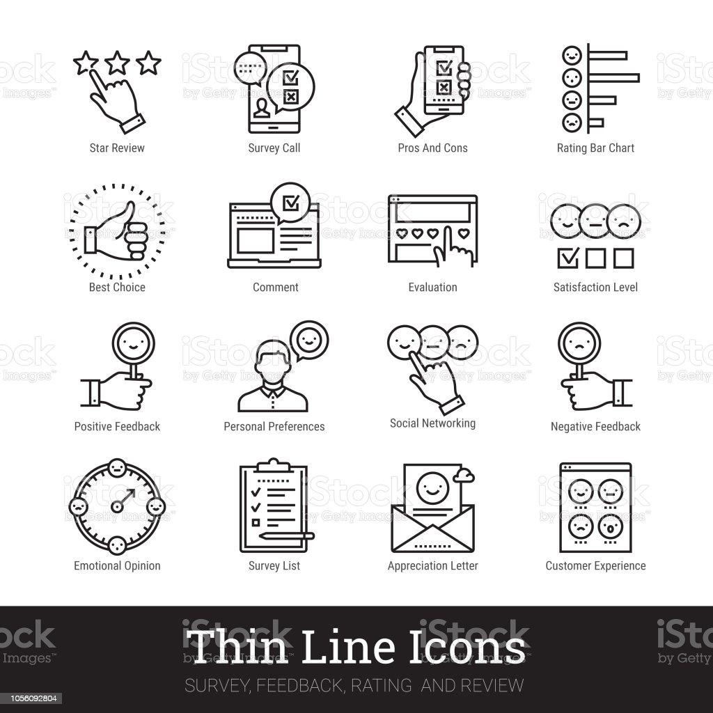 Iconos lineales estudio, retroalimentación, calificación y revisión. Colección de imágenes prediseñadas vector ilustraciones aislada sobre fondo blanco. - ilustración de arte vectorial