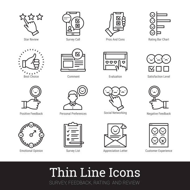 Survey, Feedback, Rating And Review Linear Icons. Vector Illustrations Clipart Collection Isolated On White Background. Survey, feedback, rating and review thin line icons. Modern linear illustration concept for social networks, web and mobile application. Checklist, quiz, emotional opinion, personal preferences, satisfaction level, star review pictogram. Outline vector icons collection. survey icon stock illustrations