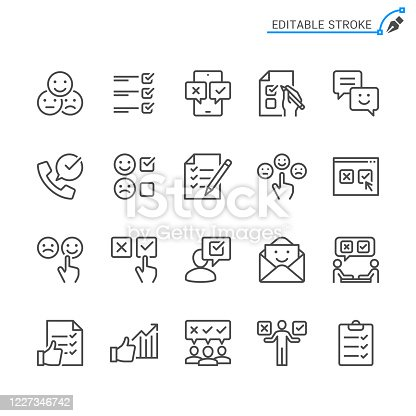 Survey line icons. Editable stroke. Pixel perfect.