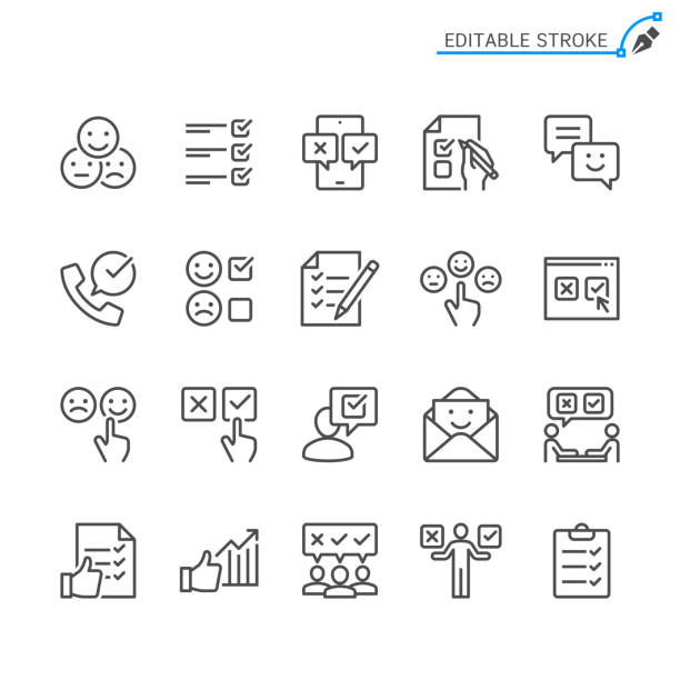 Survey line icons. Editable stroke. Pixel perfect. Survey line icons. Editable stroke. Pixel perfect. survey icon stock illustrations