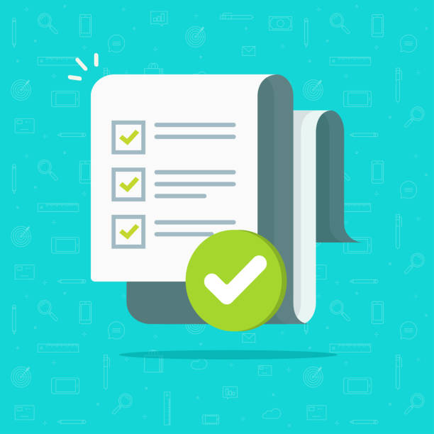 Survey or exam form long paper sheet with answered quiz checklist and success result assessment or completed to do list, education test idea, questionnaire document vector illustration flat cartoon Survey or exam form long paper sheet with answered quiz checklist and success result assessment or completed to do list, idea of education test, questionnaire document vector illustration flat cartoon checklist stock illustrations