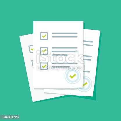 Survey Or Exam Form Paper Sheets Pile With Answered Quiz ...