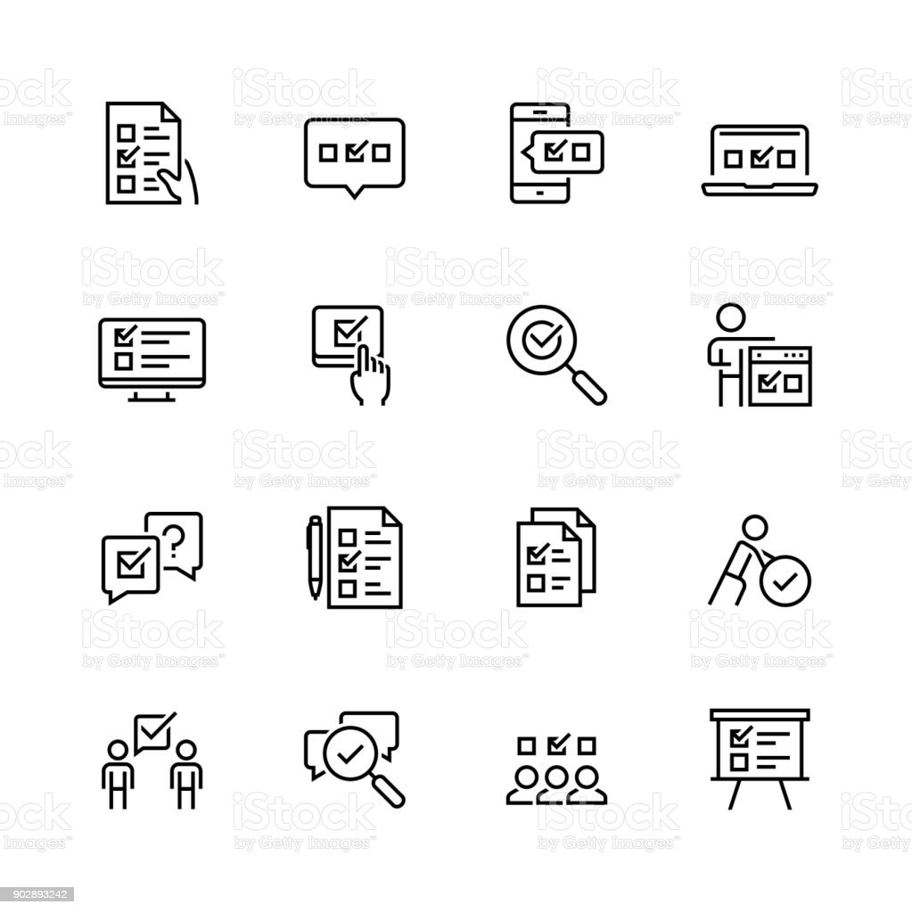 Survey or test icon set in thin line style vector art illustration