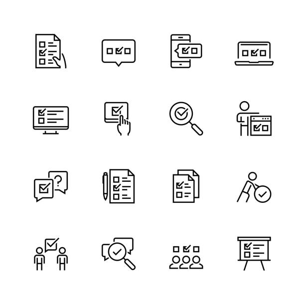 Survey or test icon set in thin line style Survey or test icon set in thin line style choice stock illustrations