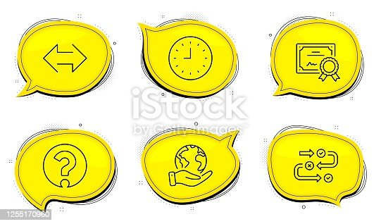 Question mark sign. Diploma certificate, save planet chat bubbles. Survey progress, Clock and Sync line icons set. Algorithm, Time or watch, Synchronize. Ask support. Business set. Vector
