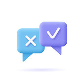 istock Survey reaction icon. Check and cross symbols. Speech bubble with decline,remove sign and approve, accepted, confirmed sign. 3d vector illustration. 1329897368