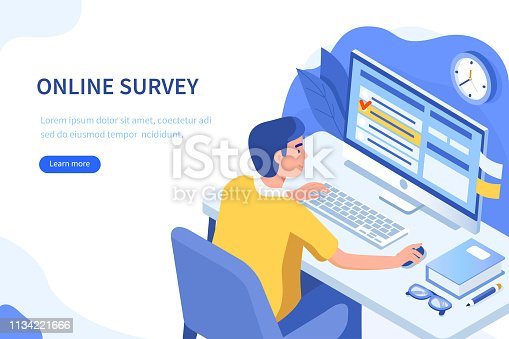 Online survey or questionnaire concept. Can use for web banner, infographics, hero images. Flat isometric vector illustration isolated on white background.