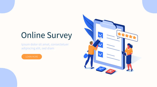 survey People Characters Filling Test in Customer Survey Form. Woman and Man putting Check Mark on Checklist. Customer Experiences and Satisfaction Concept. Flat Isometric Vector Illustration. survey stock illustrations