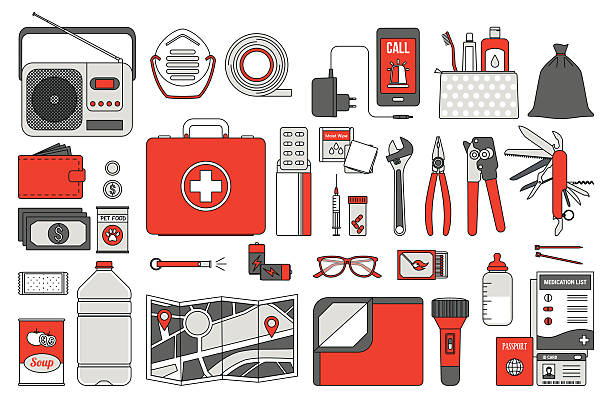 survival emergency kit - first aid stock illustrations, clip art, cartoons, & icons