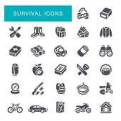 Bushcraft Gear and Adventure Survival Supplies Icon Set