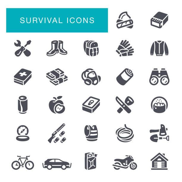 survival icons - пищевая цепь stock illustrations