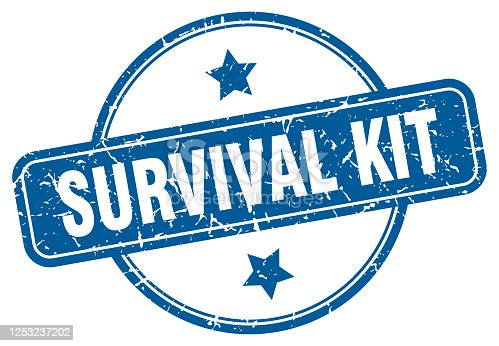 survival kit grunge stamp. survival kit round vintage stamp