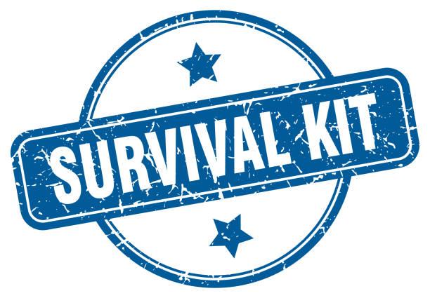 stockillustraties, clipart, cartoons en iconen met survival kit grunge stempel. survival kit ronde vintage stempel - jong dier