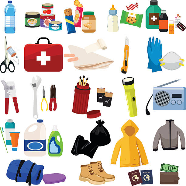 survival kit icons - first aid stock illustrations, clip art, cartoons, & icons