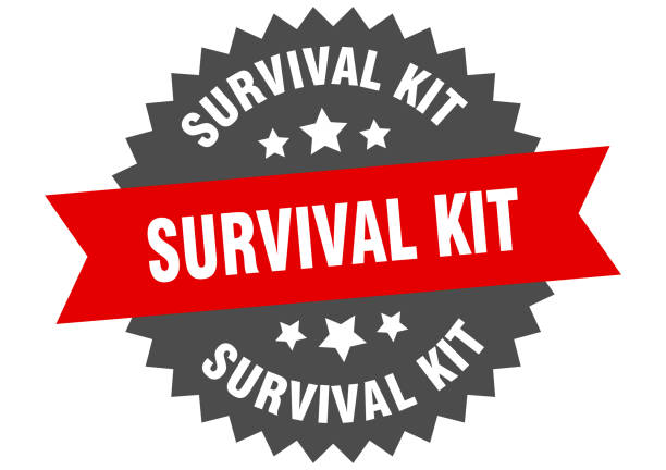 survival kit round isolated ribbon label. survival kit sign survival kit round isolated ribbon label. survival kit sign baby animals stock illustrations