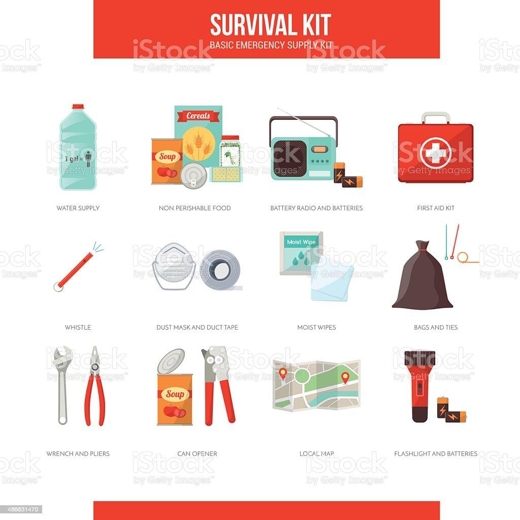 Survival kit vector art illustration