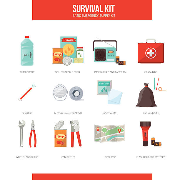 survival kit - first aid stock illustrations, clip art, cartoons, & icons
