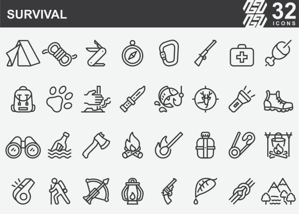 stockillustraties, clipart, cartoons en iconen met survival line iconen - roofdieren
