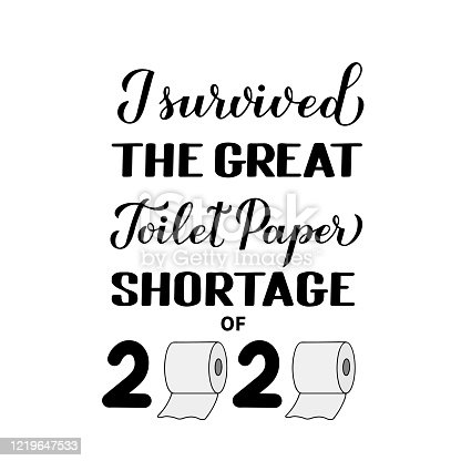 I survived the great toilet paper shortage of 2020 calligraphy hand lettering. Funny quarantine quote. Coronavirus COVID-19 typography poster. Vector template for banner, postcard, t-shirt
