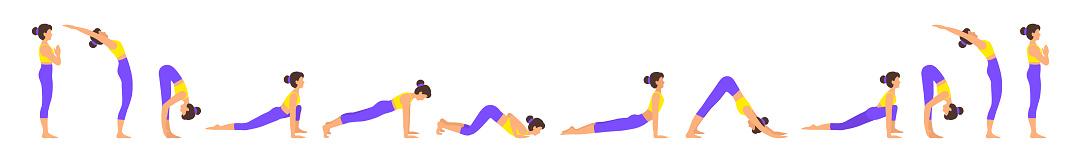 Surya namaskar A sun salutation yoga asanas sequence set vector illustration.
