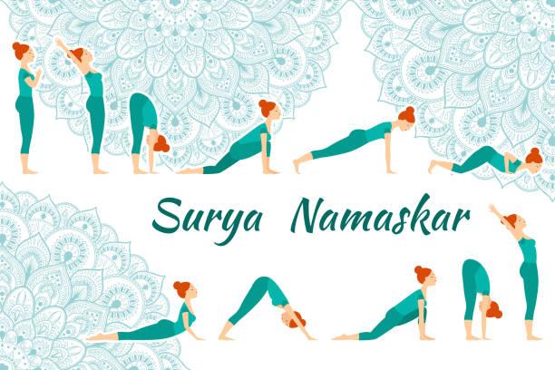 Surya Namaskar yoga complex sun salutation Surya Namaskar yoga complex sun salutation on a background of ethnic mondala sun salutation stock illustrations