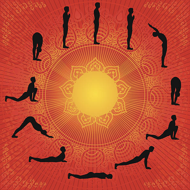 Suryanamaskar 12 Yoga Steps of  sun salutation ,all separate layer,very useful to print . sun salutation stock illustrations