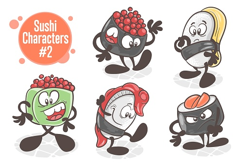 Sushi. A set of funny cartoon characters. Asian cuisine. Vector illustration isolated on white background