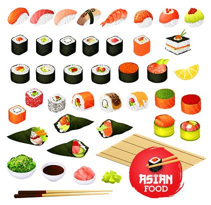 Sushi Och Rullar Gunkan Temaki Och Enare Ikura-vektorgrafik och fler bilder på Asien