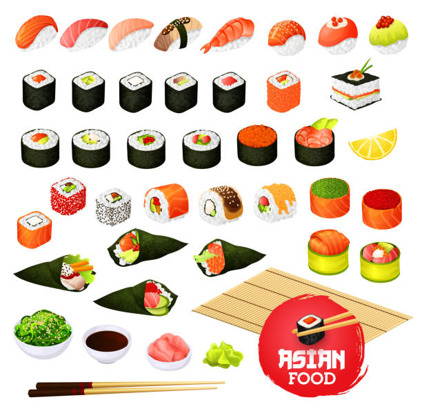 sushi and rolls, gunkan, temaki and inari, ikura - sushi stock illustrations