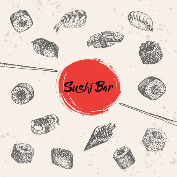 sushi and rolls hand drawn illustration. vector sushi bar lettering. - japanese food stock illustrations