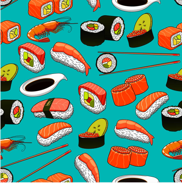 Sushi and rolls seamless pattern background. - Illustration vectorielle