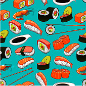 Sushi and rolls seamless pattern background.