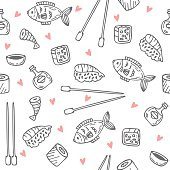 Sushi and rolls seamless pattern. Sushi texture. Hand drawn