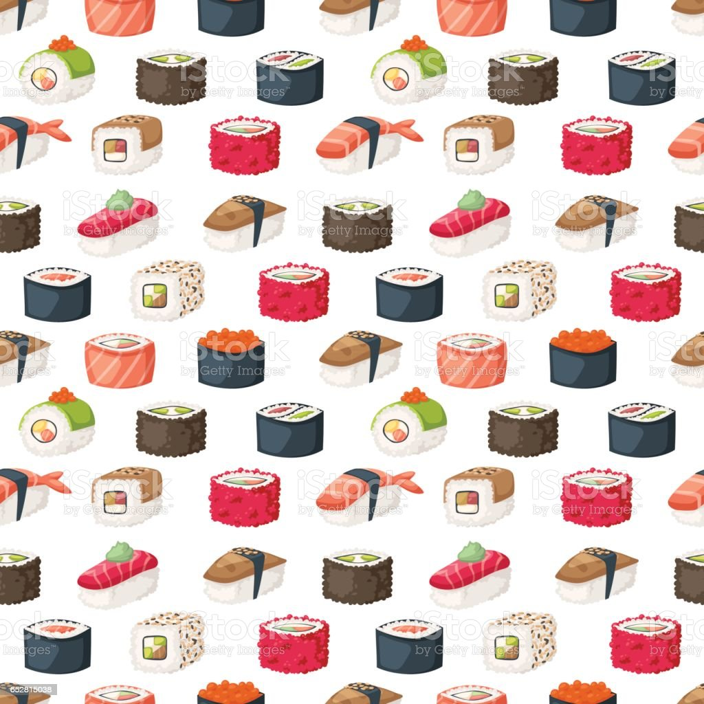 Sushi and rolls seamless pattern vector