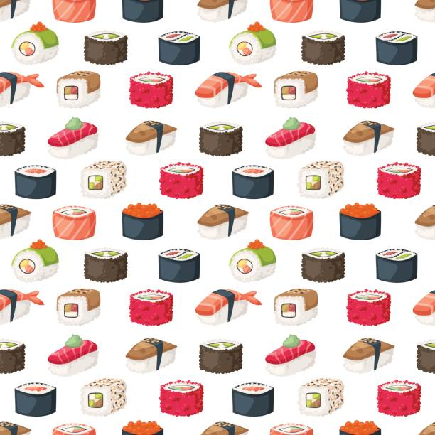 Sushi et rouleaux vecteur transparente - Illustration vectorielle