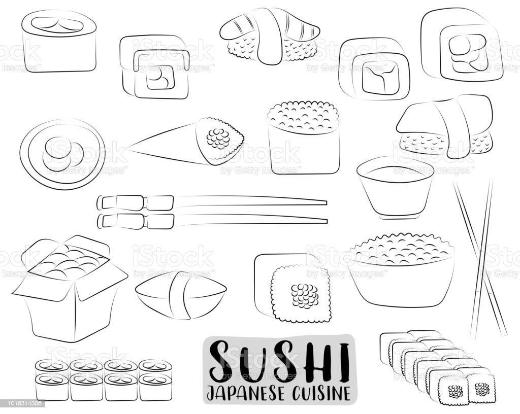 Ilustración De Set Sushi Y Rollos Concepto De Cocina Japonesa Menú