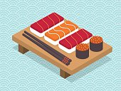 Sushi and rolls set.